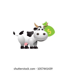 Money cow on a white background