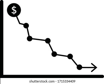 Money crisis icon, Financial crisis vector icon, Dollar rate decrease vector line icon, Money symbol with down arrow, Lower cost icon,Business lost.