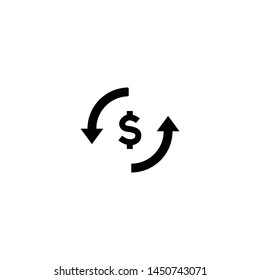 Money currency exchange. Investment banking money and finance. Money transfer Icon. Arrow, trade, return. Vector illustration.