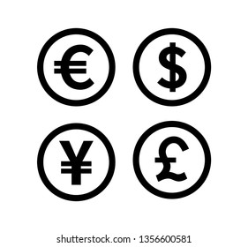Money & Currency icons set. Money sign. Euro, Dollar, Yen, Pound. Vector illustration. on white background