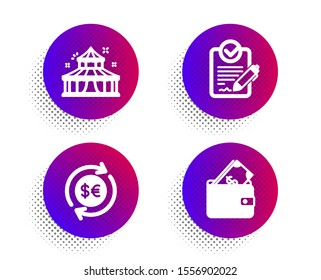 Money currency, Rfp and Circus icons simple set. Halftone dots button. Wallet sign. Cash change, Request for proposal, Attraction park. Usd cash. Business set. Classic flat money currency icon. Vector
