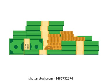 Money currency vector illustration. Various money bills dollar cash paper bank notes and gold coins. Collection of cash heap pile and currency stack vector set. - Vector eps 10