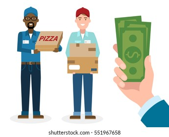 Money for delivery. Handsome male cartoon character. Delivery man gets money. Happy smiling supplier or delivery aget.