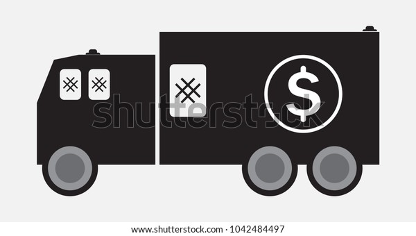 Money delivery truck or Armored Truck Vector and Illustration