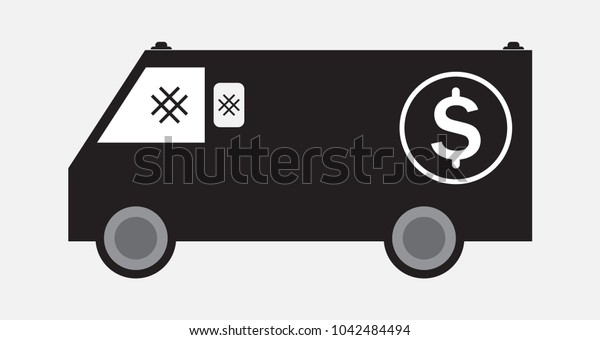 Money delivery Van or Armored Van Vector and Illustration