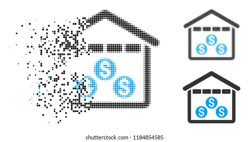 Money depository icon in dispersed, pixelated halftone and undamaged variants. Points are composed into vector dispersed money depository icon. Disintegration effect involves rectangular dots.