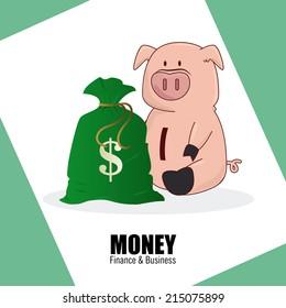 Money design over green background, vector illustration