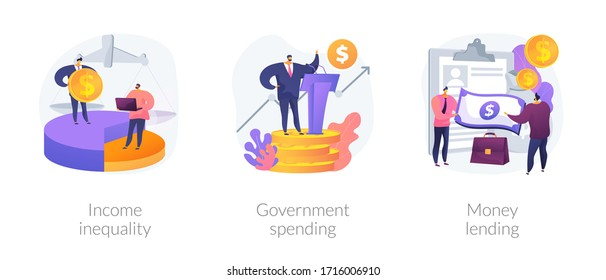 Money distribution abstract concept vector illustration set. Income inequality, government spending, money lending, salary gap, country budget, bank credit, individual loan, welfare abstract metaphor.