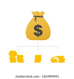 Money diversification revenue, financial diversification portfolio. Financial success and balance. Business diversification. Vector stock illustration.