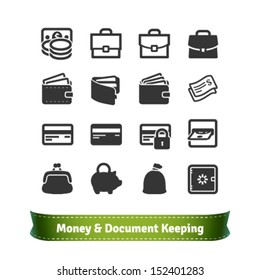 Money and Document Keeping Icons for E-commerce and Business
