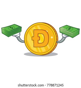 With money Dodgecoin character cartoon style