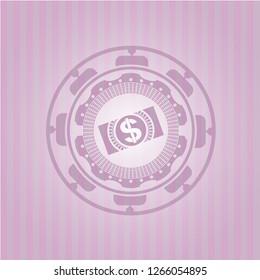 money, dollar bill icon inside realistic pink emblem
