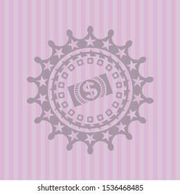 money, dollar bill icon inside pink emblem. Retro