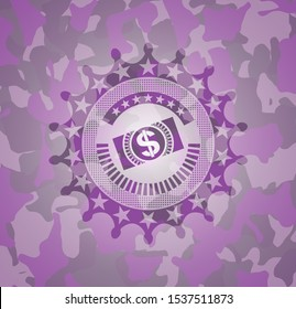 money, dollar bill icon on pink camo pattern