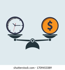 money dollar coin and time on scales. time money. vector symbol in flat simple style