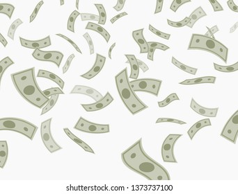 Money dollar falling from above. Vector background.