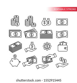 Money, dollar financial thin line vector set. Coin, money stack, wallet, banknote outline icons.