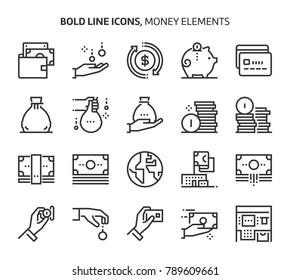 Money elements, bold line icons. The illustrations are a vector, editable stroke, 48x48 pixel perfect files. Crafted with precision and eye for quality.