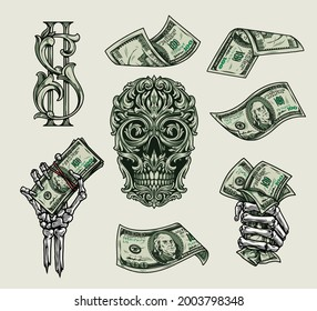 Money elements colorful vintage concept with dollar symbol and notes skeleton hands holding american cash bills green skull of traceries on dollar banknote isolated vector illustration