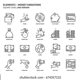 Money elements, square icon set. The illustrations are a vector, editable stroke, thirty-two by thirty-two matrix grid, pixel perfect files. Crafted with precision and eye for quality.