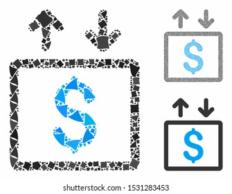 Money elevator mosaic of humpy parts in different sizes and color tinges, based on money elevator icon. Vector joggly parts are composed into collage. Money elevator icons collage with dotted pattern.