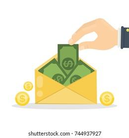 Money in envelope. Cash green money sending in yellow mail.