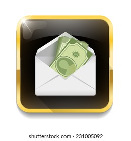 money in an envelope, Dollar version With long shadow over app button