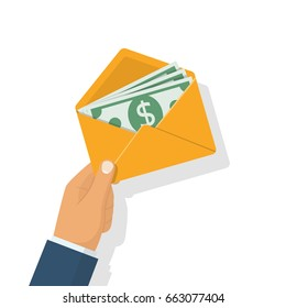 Money in envelope hold in hand businessman.  Isolated on white background. Cash american dollars. Financial gift. Vector illustration flat design. Finance concept. Open paper envelope with money.