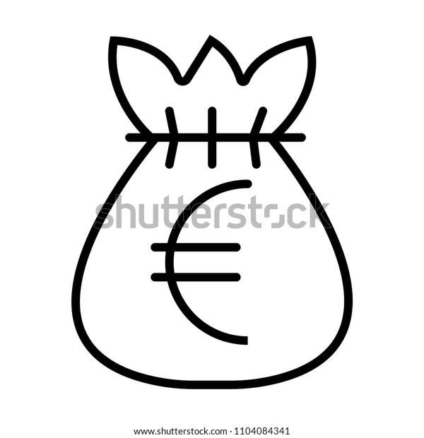Money Euro Bag symbol Vector Object Picture Image Graphic Glyph Outline Icon