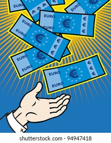 Money (euro banknotes) falling from heaven, EPS 8, CMYK.
