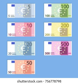 Money euro banknotes, simple flat style vector illustration