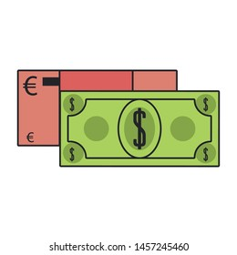 Money euro and dollar cash billets isolated vector illustration