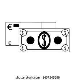 Money euro and dollar cash billets isolated in black and white vector illustration