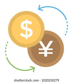 Money exchange, currency converter flat icon