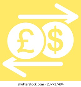 Money Exchange icon from Business Bicolor Set. This flat vector symbol uses white color, rounded angles, and isolated on a yellow background.