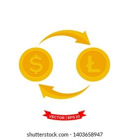 money exchange icon, dollar icon exchange to lite coin icon