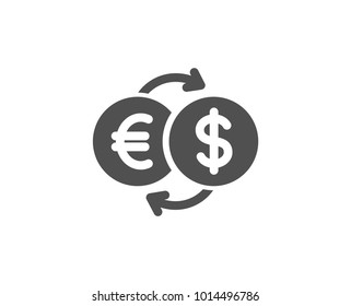 Money exchange simple icon. Banking currency sign. Euro and Dollar Cash transfer symbol. Quality design elements. Classic style. Vector