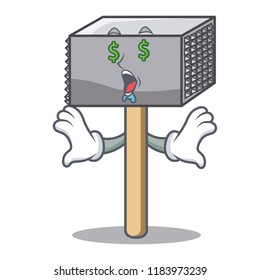 Money eye meat hammer utensil isolated on mascot