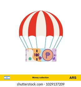 Money falling in parachutes down .  peso banknote vector illustration.