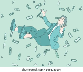 A lot of money is falling and people are floating in it. hand drawn style vector design illustrations.