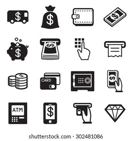 Money, finance, banking credit card icons vector
