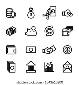 Money and finance golden ratio  related lines icon set vector images