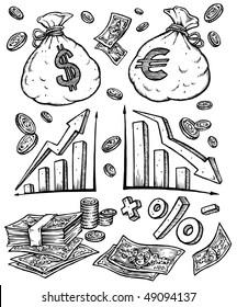 Money Finance Illustration. Black & White Clip Art.