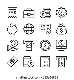 Money and finance line icons set. Modern graphic design concepts, simple outline elements collection. Vector line icons