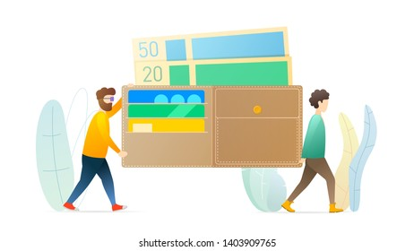 Money, finance management flat vector illustration. Two men carrying big wallet cartoon characters. Cash, credit cards. Banking, financial literacy, wealth concept. Earn, spend money.