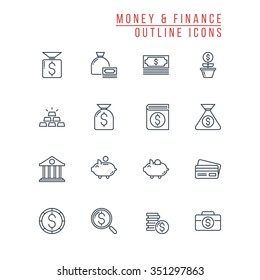 Money and Finance Outline Icons