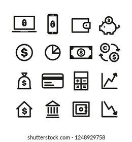 Money, finance and payments icon collection. Linear vector symbols.