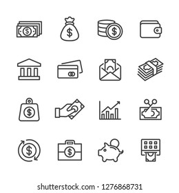 Money and finance related lines icon set vector images