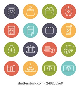 Money and Finance Round Line Icons Collection. Set of 16 financial business symbols, negative in colored circles
