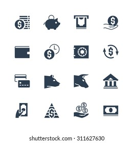 Money and finances related vector icon set